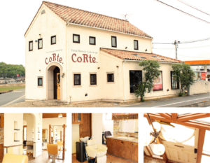 倉敷の美容室CoRte. leaf店の外観と内観