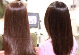 2名の艶髪の女性の後ろ姿